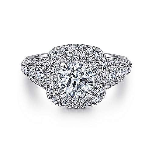 Peony 14k White Gold Round Double Halo Engagement Ring angle 1