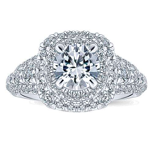 Peony 14k White Gold Round Double Halo Engagement Ring angle 5