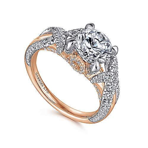 Peppa 18k White And Rose Gold Round Twisted Engagement Ring angle 3