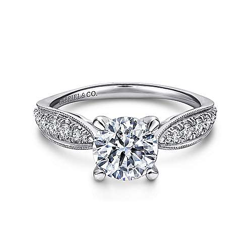 Gabriel - Peregrine 18k White Gold Round Straight Engagement Ring