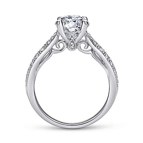 Peregrine 18k White Gold Round Straight Engagement Ring angle 2