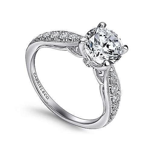 Peregrine 18k White Gold Round Straight Engagement Ring angle 3