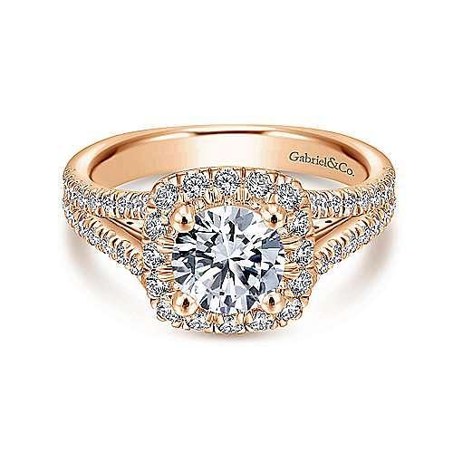 Gabriel - Perennial 14k Rose Gold Round Halo Engagement Ring