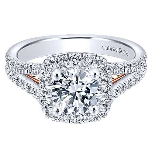 Gabriel - Perennial 14k White And Rose Gold Round Halo Engagement Ring