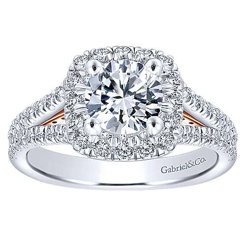 Perennial 14k White And Rose Gold Round Halo Engagement Ring