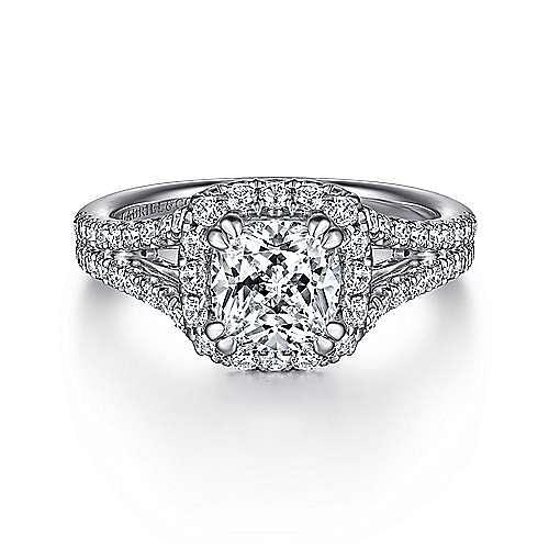 Gabriel - Perennial 14k White Gold Cushion Cut Halo Engagement Ring