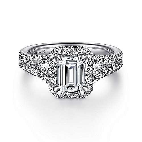 Gabriel - Perennial 14k White Gold Emerald Cut Halo Engagement Ring
