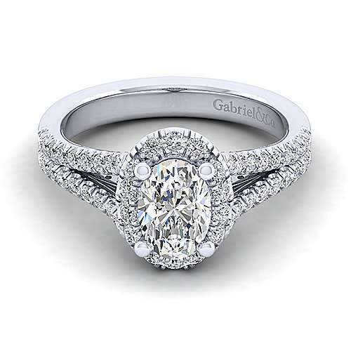 Gabriel - Perennial 14k White Gold Oval Halo Engagement Ring
