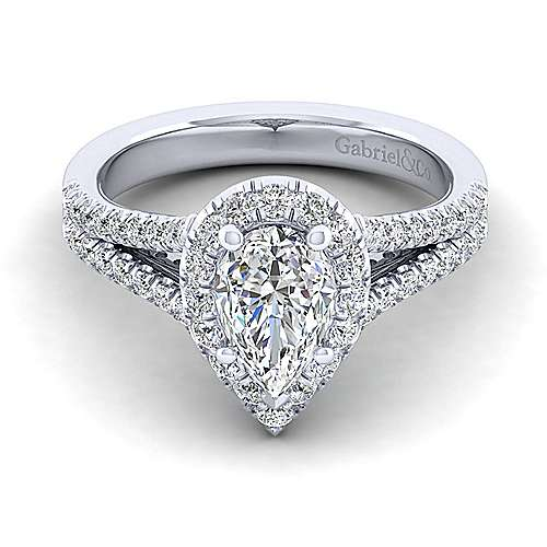 Gabriel - Perennial 14k White Gold Pear Shape Halo Engagement Ring