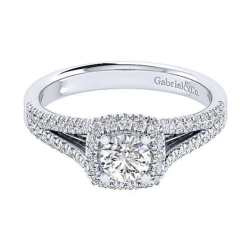 Gabriel - Perennial 14k White Gold Round Halo Engagement Ring