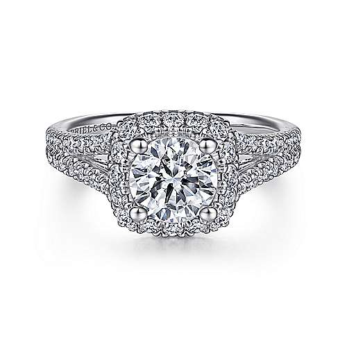 Gabriel - Perennial 14k White Gold Round Halo Engagement Ring