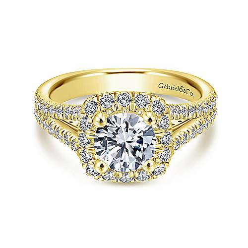 Gabriel - Perennial 14k Yellow Gold Round Halo Engagement Ring