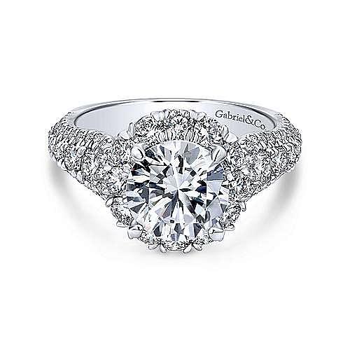 Perito 18k White Gold Round Halo Engagement Ring angle 1