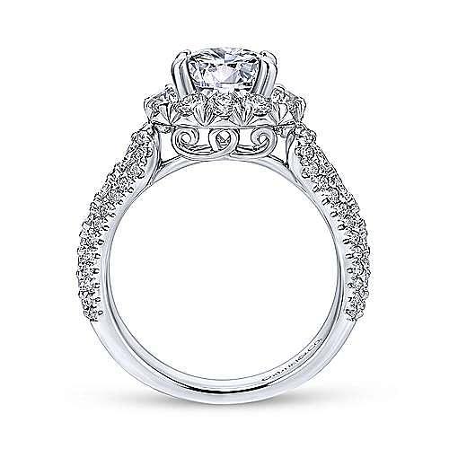 Perito 18k White Gold Round Halo Engagement Ring angle 2