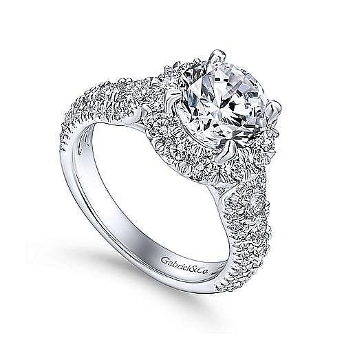 Perito 18k White Gold Round Halo Engagement Ring angle 3