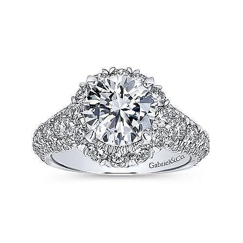 Perito 18k White Gold Round Halo Engagement Ring angle 5