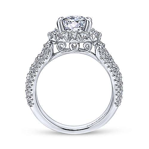 Perito Platinum Round Halo Engagement Ring angle 2