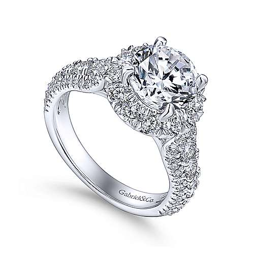 Perito Platinum Round Halo Engagement Ring angle 3