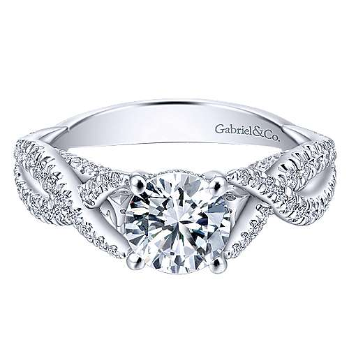 Gabriel - Periwinkle 14k White Gold Round Twisted Engagement Ring