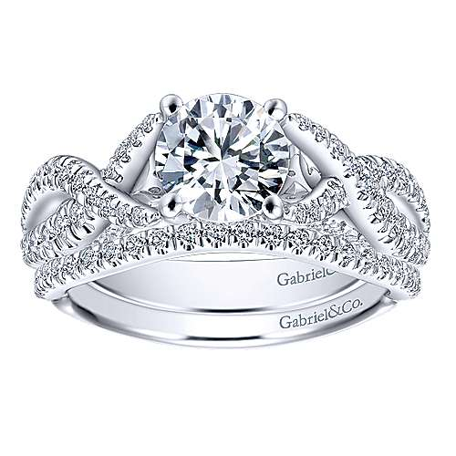 Periwinkle 14k White Gold Round Twisted Engagement Ring angle 4