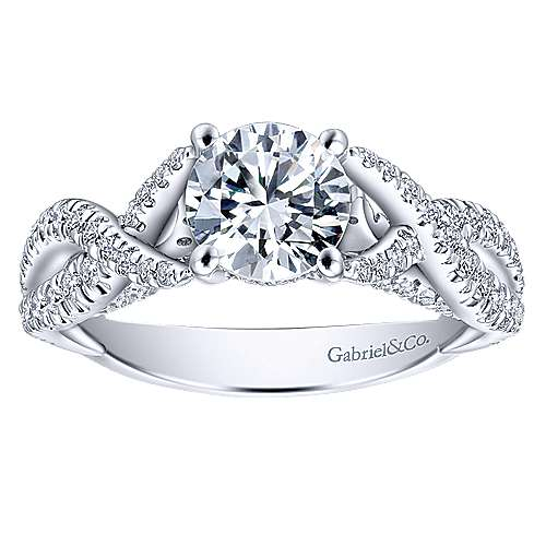 Periwinkle 14k White Gold Round Twisted Engagement Ring angle 5