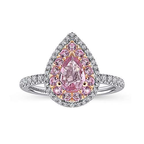 Perla 14k White And Rose Gold Pear Shape Double Halo Engagement Ring angle 5
