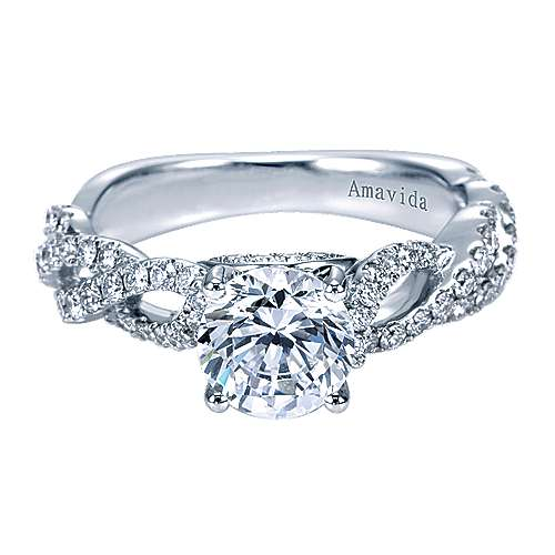 Perry 18k White Gold Round Twisted Engagement Ring angle 1