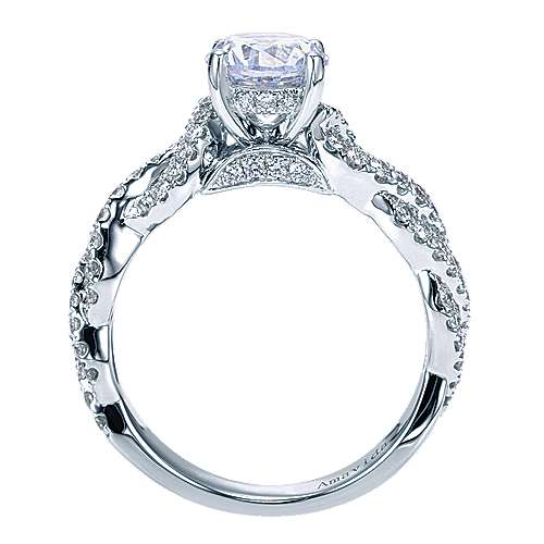 Perry 18k White Gold Round Twisted Engagement Ring angle 2