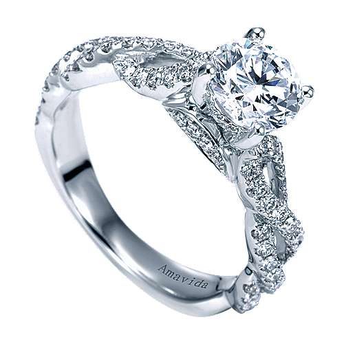 Perry 18k White Gold Round Twisted Engagement Ring angle 3