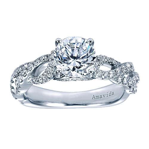 Perry 18k White Gold Round Twisted Engagement Ring angle 5