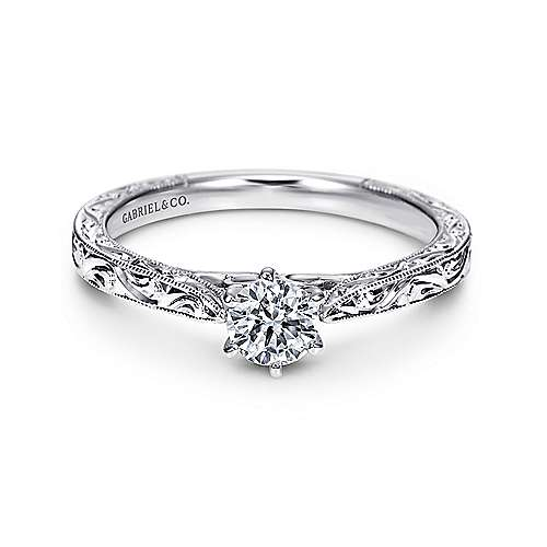 Persephone 14k White Gold Round Straight Engagement Ring angle 1