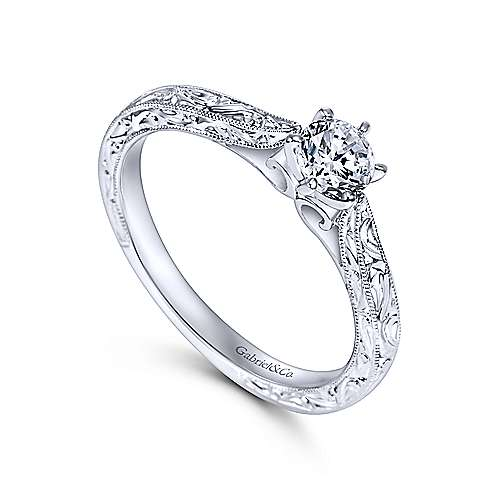 Persephone 14k White Gold Round Straight Engagement Ring angle 3