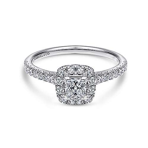 Gabriel - Petunia 14k White Gold Princess Cut Halo Engagement Ring