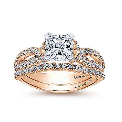 Peyton 14k White And Rose Gold Princess Cut Twisted Engagement Ring angle 4