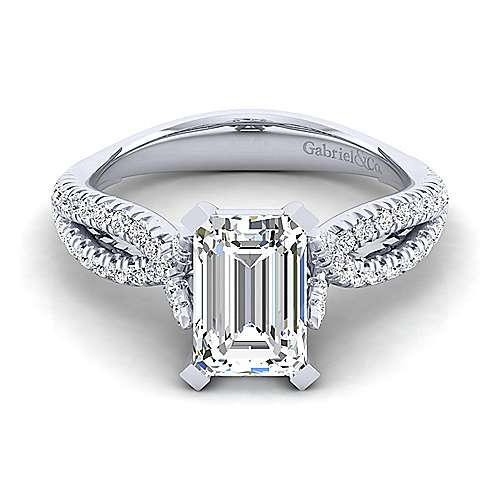 Gabriel - Peyton 14k White Gold Emerald Cut Twisted Engagement Ring