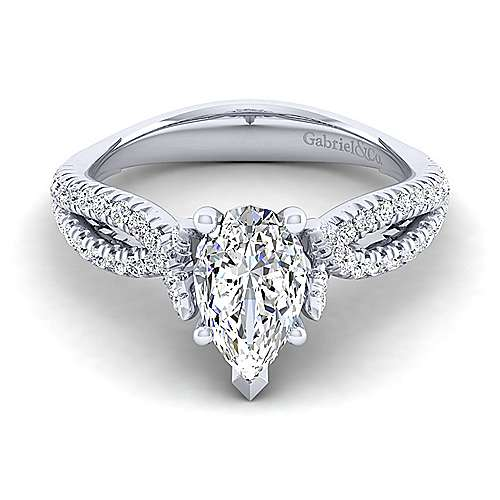 Gabriel - Peyton 14k White Gold Pear Shape Twisted Engagement Ring