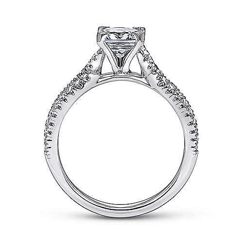 Peyton 14k White Gold Princess Cut Twisted Engagement Ring angle 2