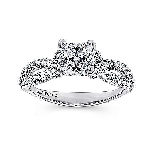 Peyton 14k White Gold Princess Cut Twisted Engagement Ring angle 5