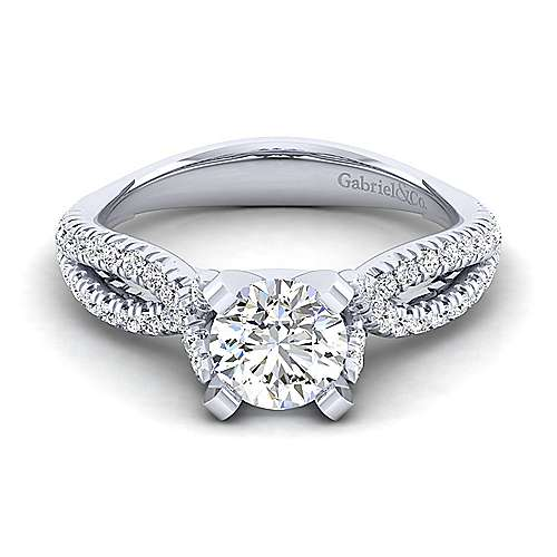 Gabriel - Peyton 14k White Gold Round Twisted Engagement Ring