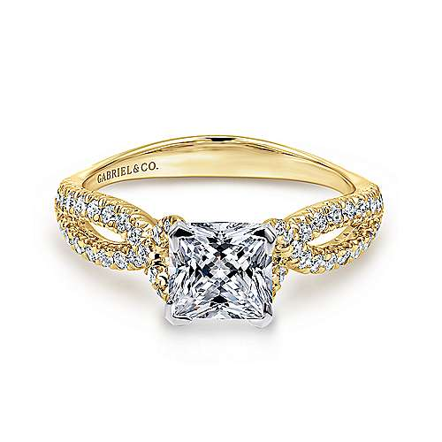 Peyton 14k Yellow And White Gold Princess Cut Twisted Engagement Ring angle 1