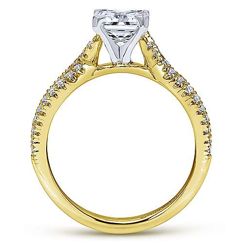 Peyton 14k Yellow And White Gold Princess Cut Twisted Engagement Ring angle 2