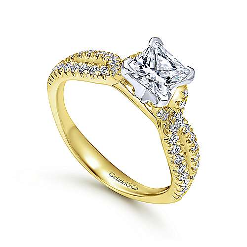 Peyton 14k Yellow And White Gold Princess Cut Twisted Engagement Ring angle 3