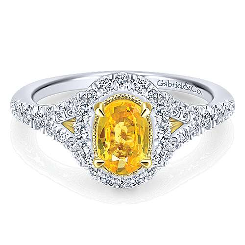 Gabriel - Philomela 14k Yellow And White Gold Oval Halo Engagement Ring