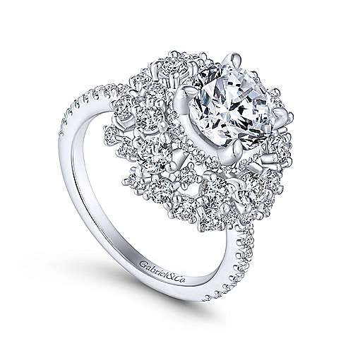 Phoenix 18k White Gold Round Halo Engagement Ring angle 3