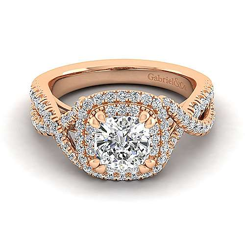 Pippa Bands: Pippa 14k Rose Gold Cushion Cut Double Halo Engagement