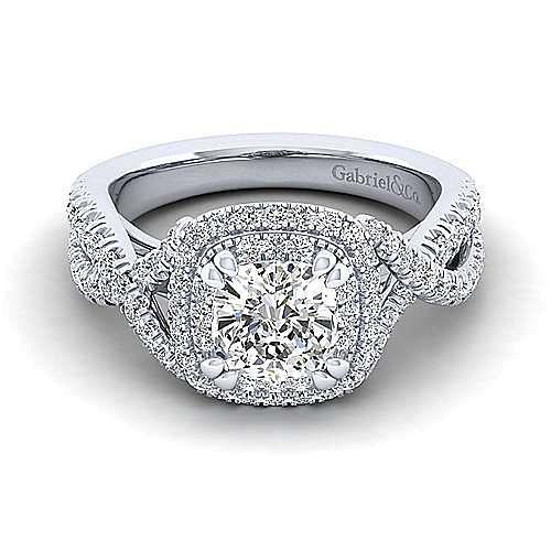54fe99e22 Pippa 14k White Gold Cushion Cut Double Halo Engagement Ring