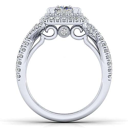 Pippa 14k White Gold Cushion Cut Double Halo Engagement Ring angle 2