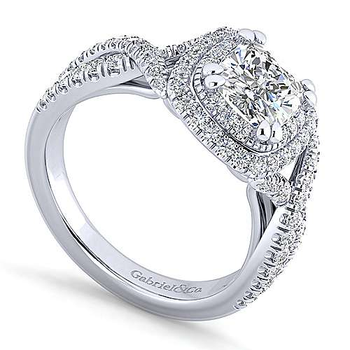 Pippa 14k White Gold Cushion Cut Double Halo Engagement Ring angle 3