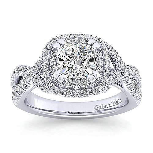 Pippa 14k White Gold Cushion Cut Double Halo Engagement Ring angle 5