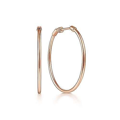 Plain 14K Rose Gold 30mm Round Classic Hoop Earrings